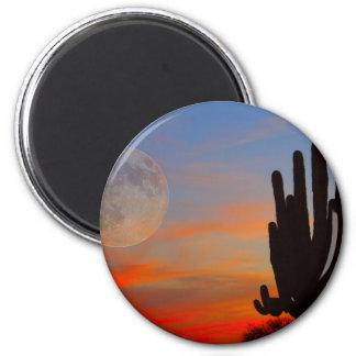 Saguaro Full Moon Sunset 2 Inch Round Magnet