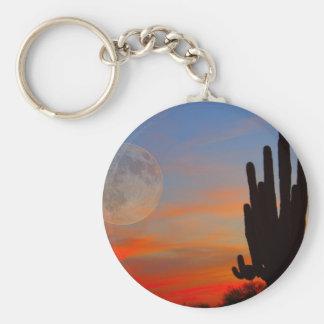 Saguaro Full Moon Sunset Basic Round Button Keychain