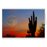 Saguaro Full Moon Sunset Card