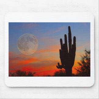 Saguaro Full Moon Sunset Mouse Pad