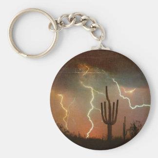Saguaro Lightning Storm Keychain