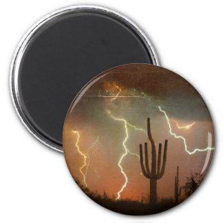 Saguaro Lightning Storm Magnet
