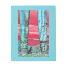 Saguaro Cactus Against Red Sky