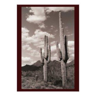 Saguaro Sentinel (AZ Desert) Sepia Invitation