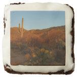 Saguaro Sunset I Arizona Desert Landscape Chocolate Brownie