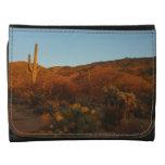 Saguaro Sunset I Arizona Desert Landscape Leather Trifold Wallets