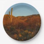 Saguaro Sunset I Arizona Desert Landscape Paper Plate