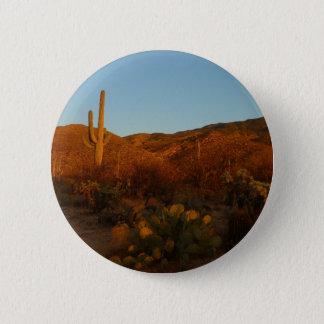 Saguaro Sunset I Arizona Desert Landscape Pinback Button