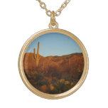 Saguaro Sunset I Arizona Desert Landscape Round Pendant Necklace