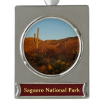 Saguaro Sunset I Arizona Desert Landscape Silver Plated Banner Ornament