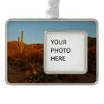 Saguaro Sunset I Arizona Desert Landscape Silver Plated Framed Ornament