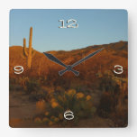 Saguaro Sunset I Arizona Desert Landscape Square Wall Clock