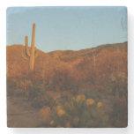 Saguaro Sunset I Arizona Desert Landscape Stone Coaster