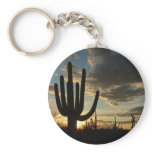 Saguaro Sunset II Arizona Desert Landscape Basic Round Button Keychain