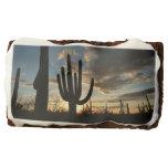 Saguaro Sunset II Arizona Desert Landscape Chocolate Brownie