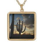 Saguaro Sunset II Arizona Desert Landscape Gold Plated Necklace