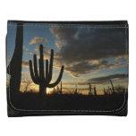 Saguaro Sunset II Arizona Desert Landscape Leather Trifold Wallets