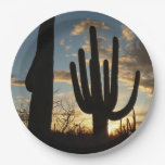 Saguaro Sunset II Arizona Desert Landscape Paper Plate