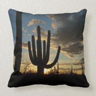 Saguaro Sunset II Arizona Desert Landscape Pillow
