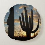Saguaro Sunset II Arizona Desert Landscape Round Pillow