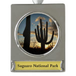 Saguaro Sunset II Arizona Desert Landscape Silver Plated Banner Ornament