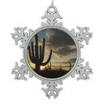 Saguaro Sunset II Arizona Desert Landscape Snowflake Pewter Christmas Ornament