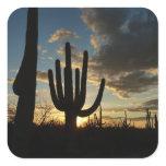 Saguaro Sunset II Arizona Desert Landscape Square Sticker
