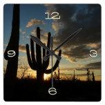 Saguaro Sunset II Arizona Desert Landscape Square Wall Clocks