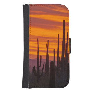 Saguaro, sunset, Saguaro National Park Galaxy S4 Wallet Case