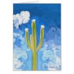 Saguaro verde, cielo azul felicitacion