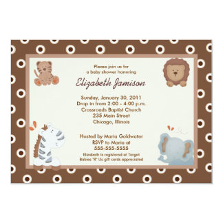 "Sahara Jungle Animals 5x7 Baby Shower Invitation 5"" X 7"" Invitation Card"