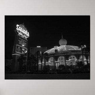 Sáhara Las Vegas en negro y blanco Póster