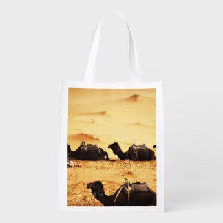 Sahara Themed, Lineup Of Camels In Golden Sand Sah Reusable Grocery Bag