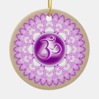 Sahasrara or Crown the 7th Chakra Double-Sided Ceramic Round Christmas Ornament
