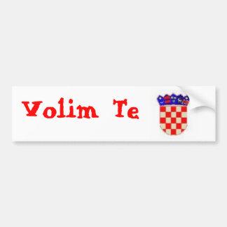 """šahovnica and """"Volim Te"""" Bumper Sticker"""