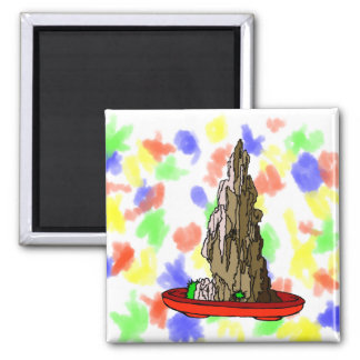Saikei Cliff in Red Pot Bonsai Graphic 2 Inch Square Magnet