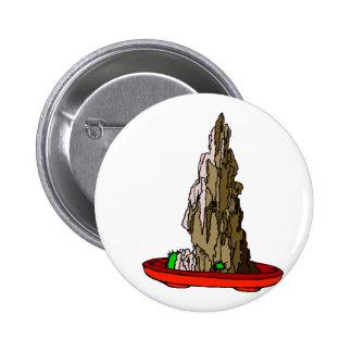 Saikei Cliff in Red Pot Bonsai Graphic Pinback Button