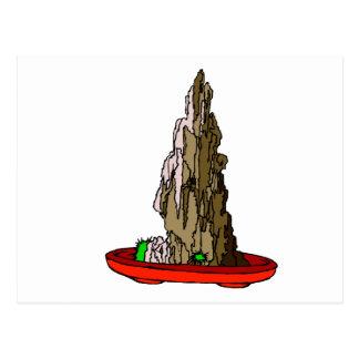 Saikei Cliff in Red Pot Bonsai Graphic Postcard