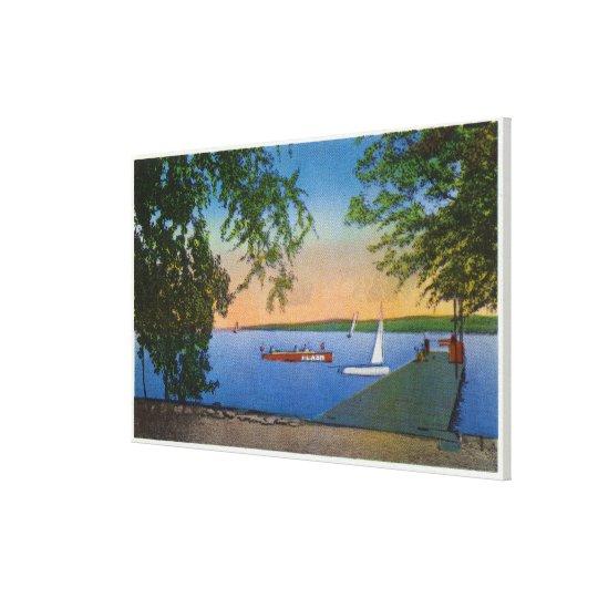 Sail and Motor Boats at Roseland Park Scene Canvas Print