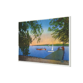 Sail and Motor Boats at Roseland Park Scene Canvas Print