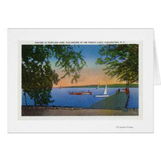 Sail and Motor Boats at Roseland Park Scene Greeting Card