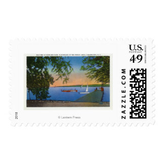 Sail and Motor Boats at Roseland Park Scene Stamp