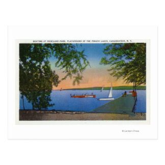 Sail and Motor Boats at Roseland Park Scene Postcard