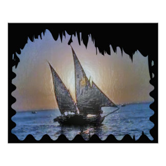 Sail at Sunset Poster