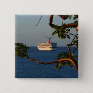 Sail Away at Sunset I Cruise Vacation Photography Button
