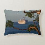 Sail Away at Sunset I Cruise Vacation Photography Decorative Pillow
