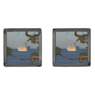 Sail Away at Sunset I Cruise Vacation Photography Gunmetal Finish Cufflinks