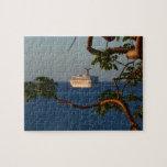 Sail Away at Sunset I Cruise Vacation Photography Jigsaw Puzzle