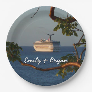 Sail Away at Sunset I Cruise Vacation Photography Paper Plate