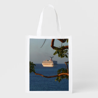 Sail Away at Sunset I Cruise Vacation Photography Reusable Grocery Bag